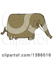 Clipart Of A Cartoon Brown Elephant Royalty Free Vector Illustration by lineartestpilot