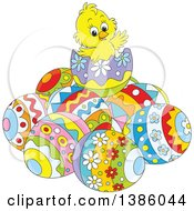 Poster, Art Print Of Cartoon Yellow Chick On Top Of A Pile Of Easter Eggs