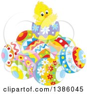 Clipart Of A Yellow Chick On Top Of A Pile Of Easter Eggs Royalty Free Vector Illustration by Alex Bannykh