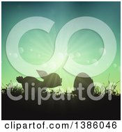 Clipart Of A Silhouetted Bunny Rabbit With An Egg In Grass Against A Sunny Sky Royalty Free Vector Illustration by KJ Pargeter