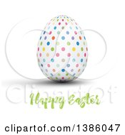 Clipart Of A Happy Easter Greeting Under A 3d Colorful Polka Dot Egg On White Royalty Free Vector Illustration