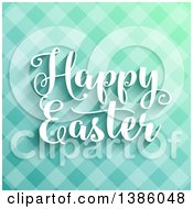 Happy Easter Greeting Over Blue Plaid