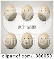 Happy Easter Greeting With Expressive 3d Eggs