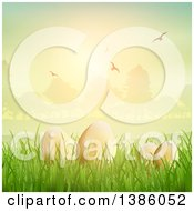 Clipart Of 3d Gold Easter Eggs In Grass Against A Park At Sunset With Flying Birds Royalty Free Vector Illustration