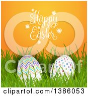 Happy Easter Greeting Over Patterned Eggs In Grass On Orange