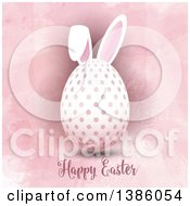 Happy Easter Greeting Under A Polka Dot Egg With Bunny Ears On Pink Watercolor
