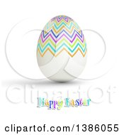 Happy Easter Greeting With A 3d Colorful Zig Zag Patterned Egg On White