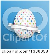 3d Colorful Polka Dot Easter Egg With A Ribbon Banner On Blue