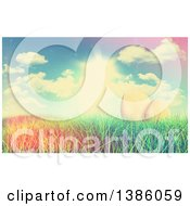 Clipart Of A 3d Gold Easter Eggs In Grass Under A Sunny Spring Sky With A Retro Filter Royalty Free Illustration