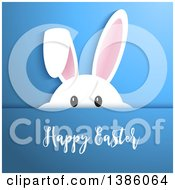 White Bunny Rabbit Peeking Over Blue With Happy Easter Text