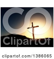 Clipart Of A Scene Of 3d Silhouetted Jesus Christ On The Cross Against A Sunset Royalty Free Illustration
