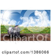 Clipart Of A 3d Cute Gray Easter Bunny Rabbit On A Deck Against A Spring Landscape Royalty Free Illustration