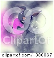 Clipart Of A 3d Cute Gray Bunny Rabbit Carrying A Pink Easter Egg On A Dreamy Background Royalty Free Illustration by KJ Pargeter