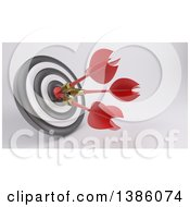 Clipart Of A 3d Target With Three Darts In The Bullseye On A Shaded Background Royalty Free Illustration