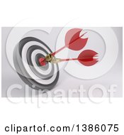 Clipart Of A 3d Target With Two Darts In The Bullseye On A Shaded Background Royalty Free Illustration