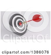Clipart Of A 3d Target With A Dart In The Bullseye On A Shaded Background Royalty Free Illustration