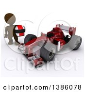 3d Brown Man Driver Holding A Helmet By A Forumula One Race Car On A White Background