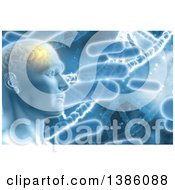 Clipart Of A 3d Male Human Head With Visible Glowing Brain Over Bacteria And Dna Strands Royalty Free Illustration by KJ Pargeter