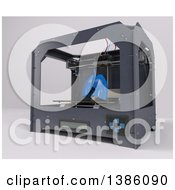 Clipart Of A 3d Printer Creating Human Lungs On A Shaded Background Royalty Free Illustration