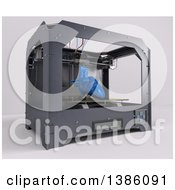 Clipart Of A 3d Printer Creating A Human Heart On A Shaded Background Royalty Free Illustration