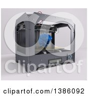 Clipart Of A 3d Printer Creating A Human Brain On A Shaded Background Royalty Free Illustration
