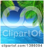 Clipart Of A 3d Ocean Framed By Tropical Palm Tree Branches Royalty Free Illustration