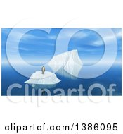 Clipart Of A 3d Lone Penguin On An Iceberg Royalty Free Illustration
