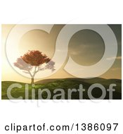 Clipart Of A 3d Autumn Maple Tree In A Hilly Grassy Landscape At Sunset Royalty Free Illustration by KJ Pargeter
