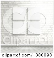 Clipart Of A White Brick Wall With Blank Canvases Royalty Free Vector Illustration