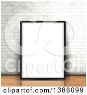 Clipart Of A Blank Frame Leaning Against A White Brick Wall On A Wood Floor Royalty Free Vector Illustration