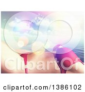 Clipart Of A 3d Cropped Torso Of A Caucasian Woman In A Bikini Sun Bathing Over The Ocean And Clouds Royalty Free Illustration by KJ Pargeter