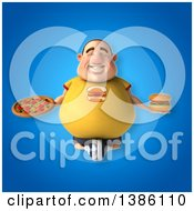 Clipart Of A 3d Chubby White Guy In A Yellow Shirt Meditating On A Blue Background Royalty Free Illustration