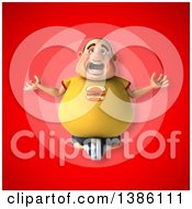 Clipart Of A 3d Chubby White Guy In A Yellow Shirt Meditating On A Red Background Royalty Free Illustration