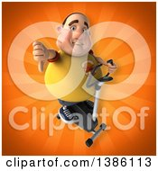 Clipart Of A 3d Chubby White Guy In A Yellow Burger Shirt Exercising On A Spin Bike On An Orange Background Royalty Free Illustration