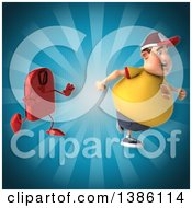 Clipart Of A 3d Chubby White Guy Running From A Scale On A Blue Background Royalty Free Vector Illustration