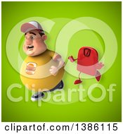 Clipart Of A 3d Chubby White Guy Running From A Scale On A Green Background Royalty Free Vector Illustration