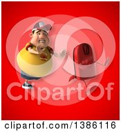 Clipart Of A 3d Chubby White Guy Chasing A Scale On A Red Background Royalty Free Vector Illustration