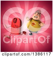 Clipart Of A 3d Chubby White Guy Chasing A Scale On A Pink Background Royalty Free Vector Illustration