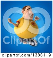 Clipart Of A 3d Chubby White Guy Meditating On A Blue Background Royalty Free Vector Illustration