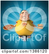 Clipart Of A 3d Chubby White Guy Meditating With Junk Food On A Blue Background Royalty Free Vector Illustration