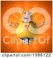 Clipart Of A 3d Chubby White Guy Meditating On An Orange Background Royalty Free Vector Illustration