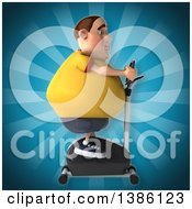 Clipart Of A 3d Chubby White Guy In A Yellow Burger Shirt Exercising On A Spin Bike On A Blue Background Royalty Free Vector Illustration