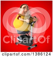 Clipart Of A 3d Chubby White Guy In A Yellow Burger Shirt Exercising On A Spin Bike On A Red Background Royalty Free Vector Illustration