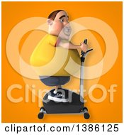 Clipart Of A 3d Chubby White Guy In A Yellow Burger Shirt Exercising On A Spin Bike On An Orange Background Royalty Free Vector Illustration