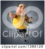 Clipart Of A 3d Chubby White Guy In A Yellow Burger Shirt Exercising On A Spin Bike On A Gray Background Royalty Free Vector Illustration