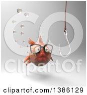 3d Fat Goldfish Looking At A Hook