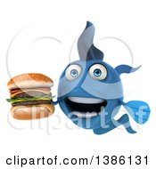 3d Blue Fish On A White Background