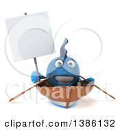 3d Blue Fish Rowing A Boat On A White Background