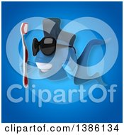 Clipart Of A 3d Blue Fish Holding A Toothbrush On A Blue Background Royalty Free Illustration