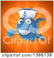 3d Blue Sailor Fish On An Orange Background